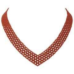 Woven Coral V Necklace