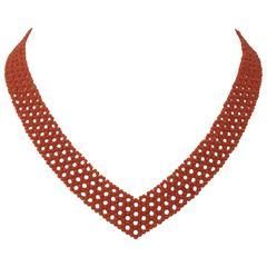 Marina J Woven V Shape Coral Necklace