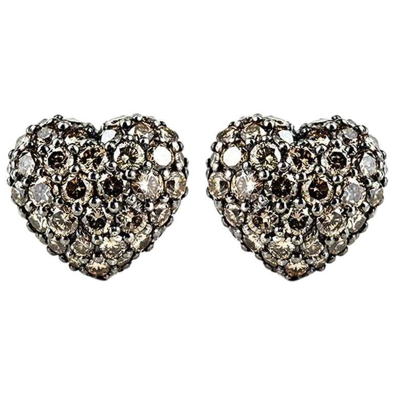 Chopard Fancy Brown Diamond Heart Earrings 2.51 Carat For Sale