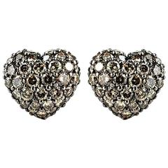 Chopard Fancy Brown Diamond Heart Earrings 2.51 Carat