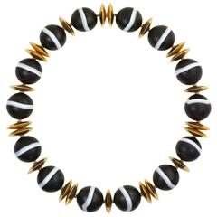 Banded Agate Bead Necklace with Gold Disc Spacers