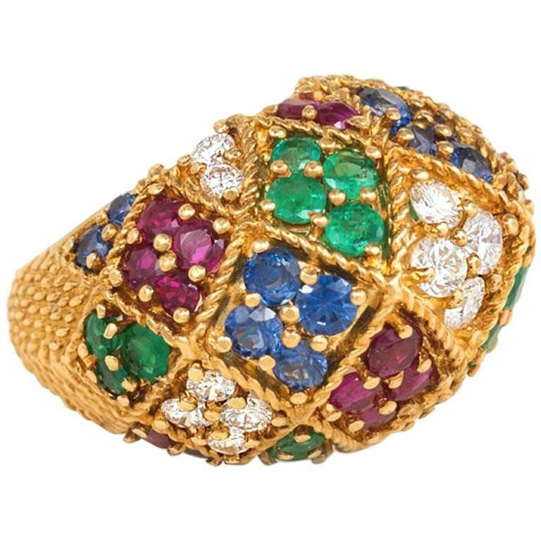 1950s  Multigemstone Gold  Bombé Ring For Sale