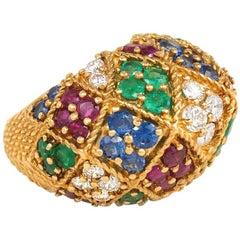 1950s Multigemstone Gold Harlequin Design Bombé Ring
