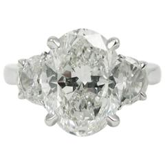 4.01 Carat Oval Cut Diamond Platinum Ring GIA