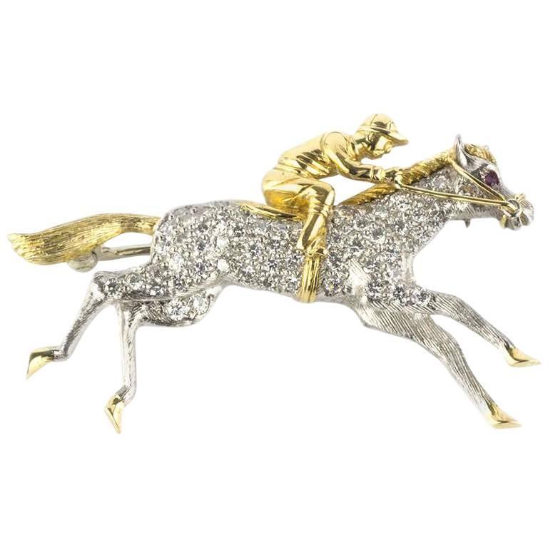 Horse and Jockey Diamond & Gold Brooch