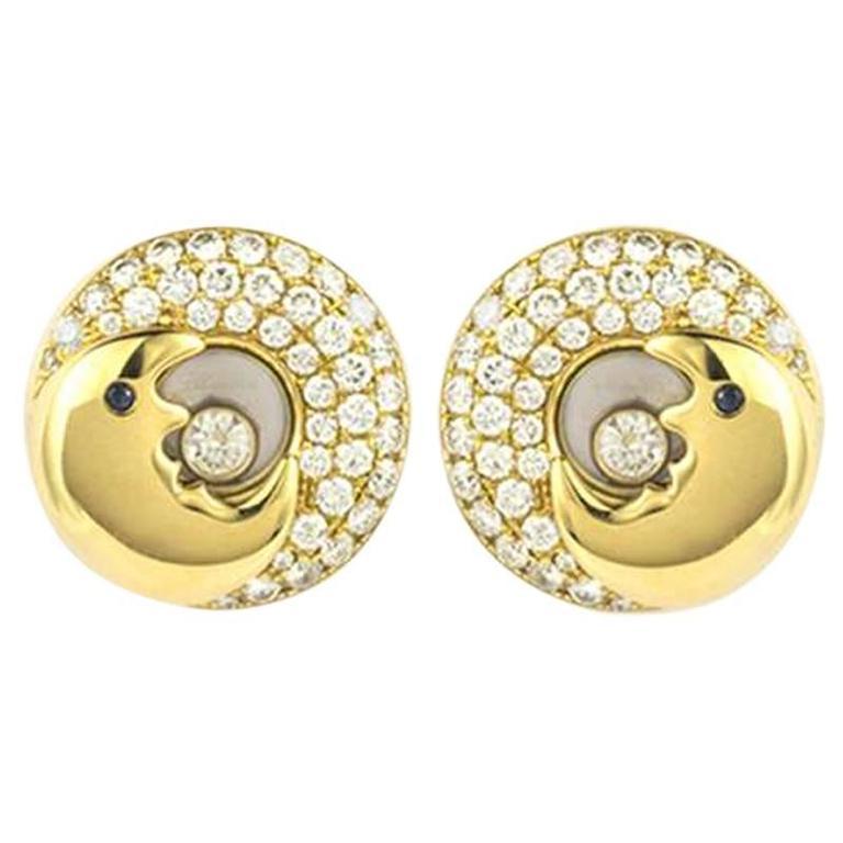 Chopard Happy Diamonds Moon Earrings 0.90 Carat For Sale