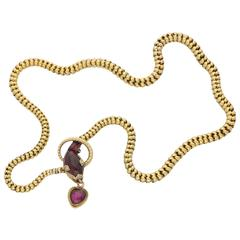 Victorian 1860s Garnet Gold Snake Necklace