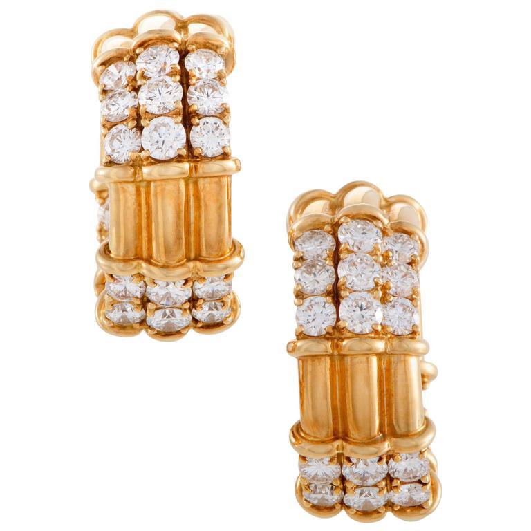 Piaget Diamond 18 Karat Yellow Gold Hoop Clip-On Earrings