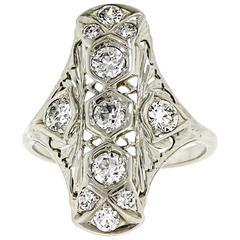 White Gold and Diamond Long Ring, circa 1920