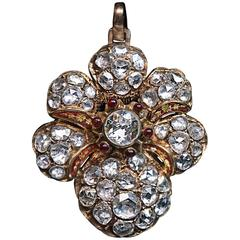 Victorian Era Antique 7 Carat Rose Cut Diamond Gold Pendant