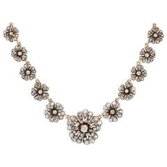Victorian Silver on Gold and Diamond Floral Necklace
