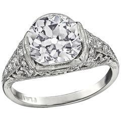 Vintage GIA Certified 2.59 Carat Diamond Engagement Ring