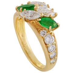 Piaget Diamond and Emerald 18 Karat Yellow Gold Ring