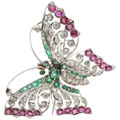 Ruby Emerald White Gold Butterfly Pin