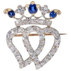 Victorian Double Heart Crown Sapphire Diamond Brooch Pendant