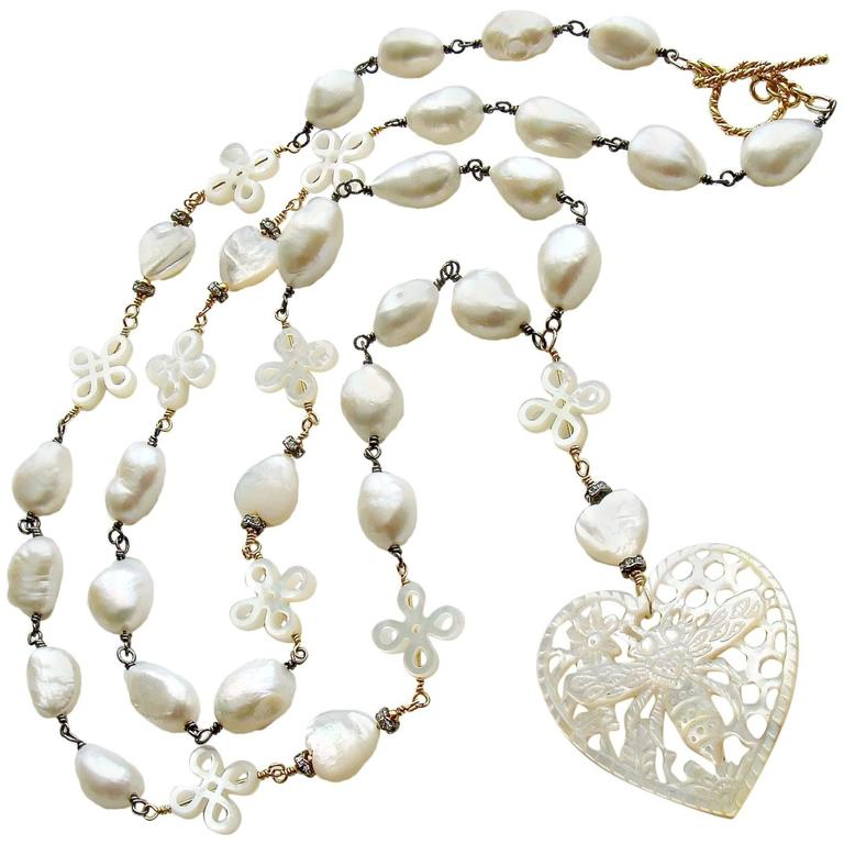 Baroque Freshwater Pearls Carved Mother-of-Pearl Queen Bee Heart Necklace