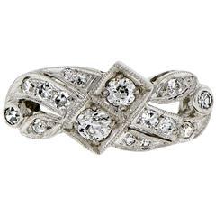 Diamond 14 Karat White Gold Ring, circa 1930