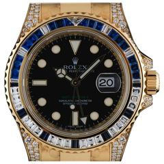 Rolex Yellow Gold Diamond Sapphire GMT-Master II Automatic Wristwatch