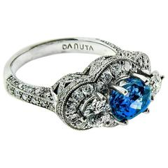 Natural 2.11 Carat Sapphire & 1.50 Carat Diamond Platinum Cocktail Ring, Danuta