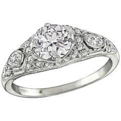 Unique GIA 1.00 Carat Old European Cut Diamond Ring