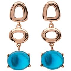 St. Tropez Cabochon Blue Topaz 18kt yellow rose Gold Drop long chic Earrings