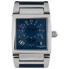De Grisogono Platinum Blue Dial Instrumento Dual Time Limited Edition Wristwatch