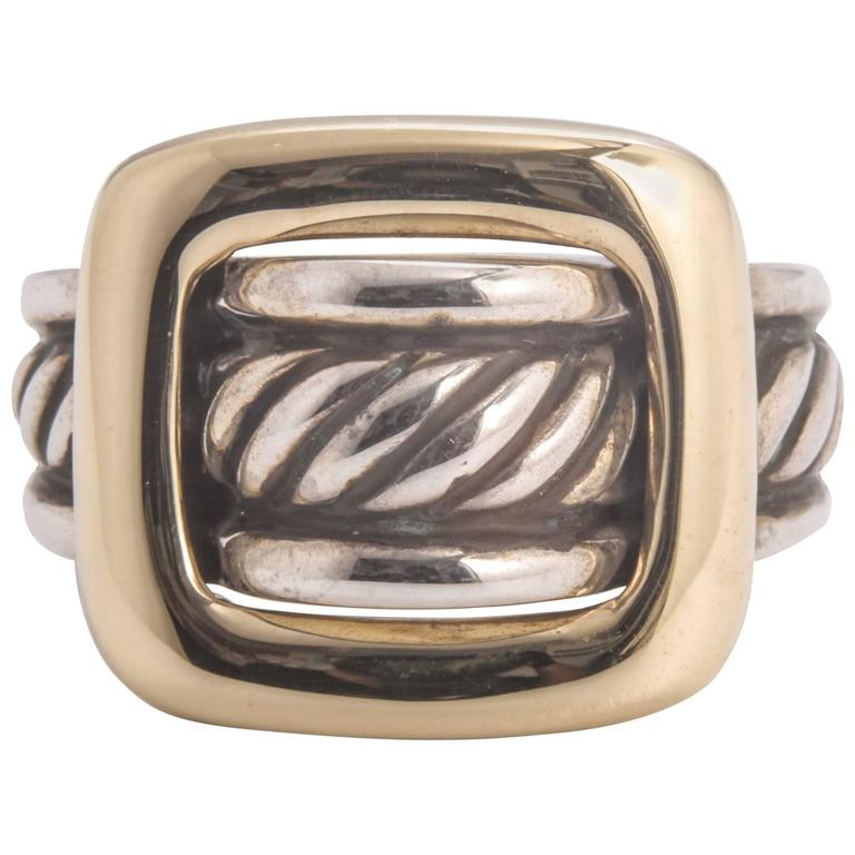 David Yurman Sterling Silver Yellow Gold Buckle Ring