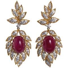 Cabochon Ruby Diamond Dangle Earrings
