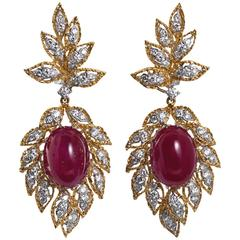Cabochon Ruby Diamond Dangle Earrings