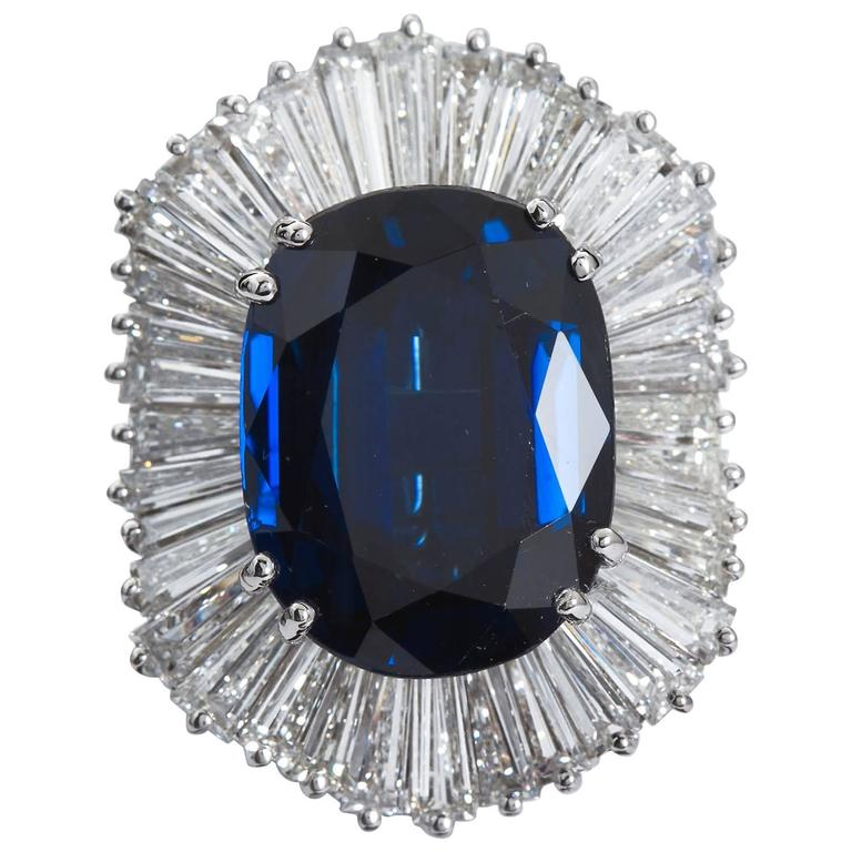 13.12 Carat Cushion Blue Sapphire Diamond Ballerina Ring Pendant