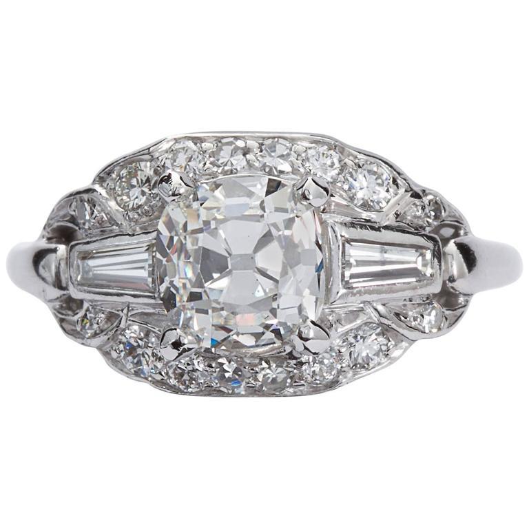 Art Deco 1.81 Carat Cushion Shape Diamond Platinum Ring GIA Cert