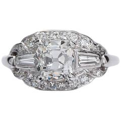 Art Deco 1.81 Carat Cushion Shape Diamond Platinum Ring GIA Cert