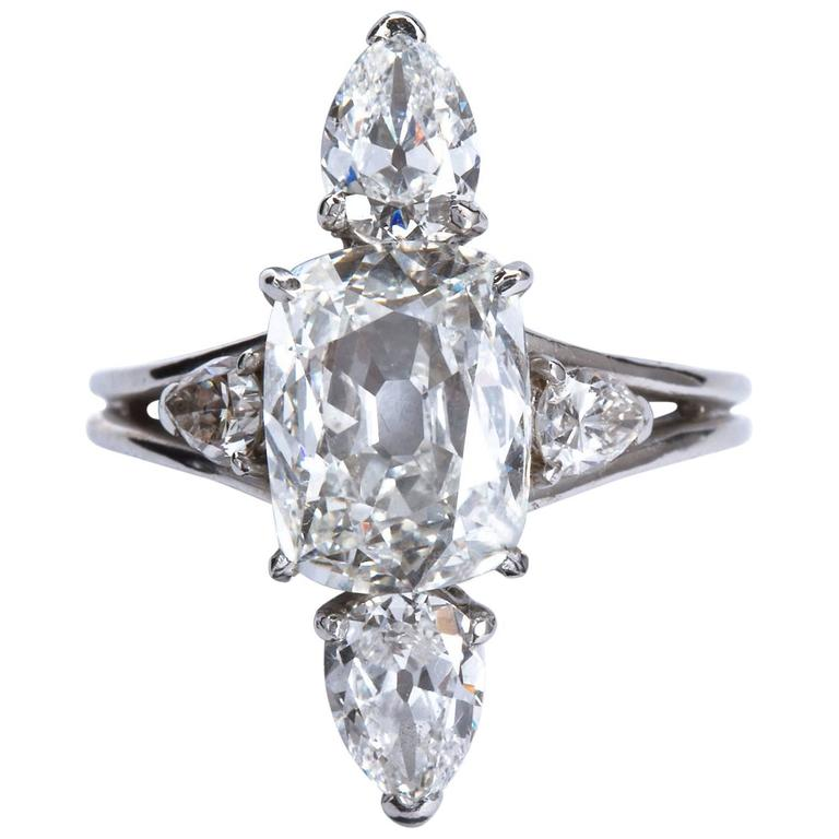 3.02 Carat GIA Cert Center Antique Cushion Diamond Engagement Ring  For Sale