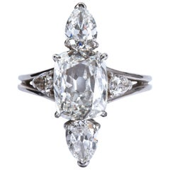 3.02 Carat GIA Cert Center Antique Cushion Diamond Engagement Ring