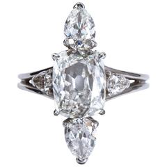 3.02 Carat GIA Cert Center Antique Cushion Diamond Engagement Ring
