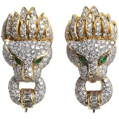 Pave Diamond Lion Head Earrings