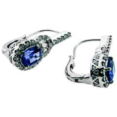Blue Tanzanite White Diamonds White Gold Leverback Earrings