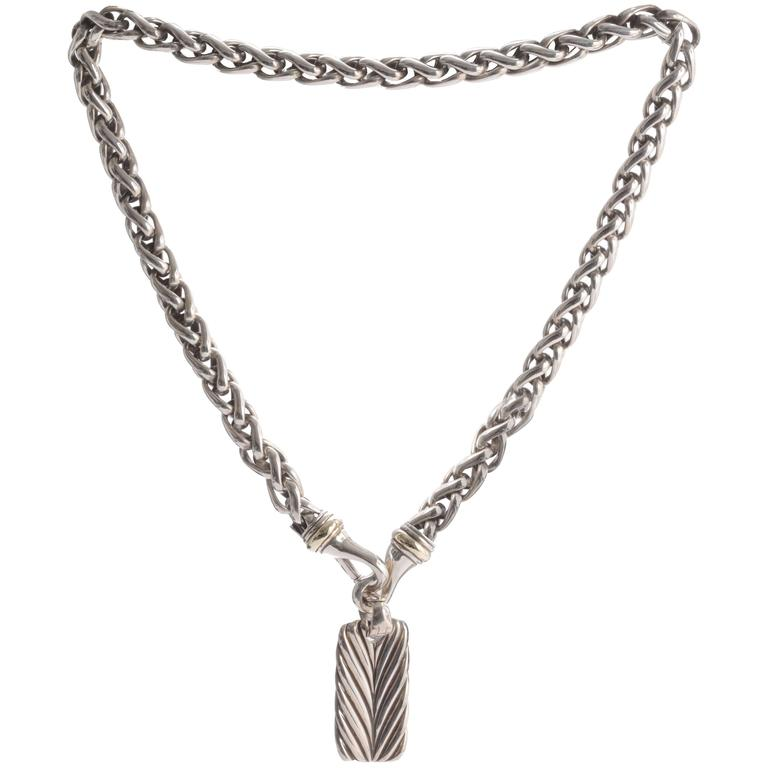 David Yurman Sculpted Cable Dog Tag For Sale At 1stdibs