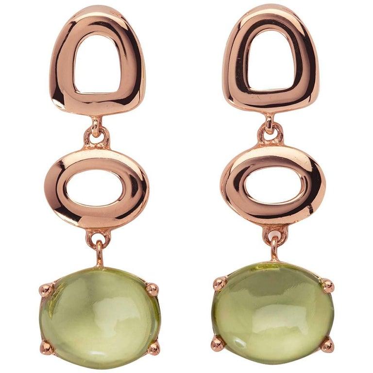 MAVIADA's St Tropez Green Peridot 18 Karat Rose Gold Drop Long Earrings For Sale