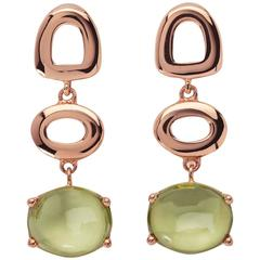 St Tropez Cabochon Green Peridot 18kt yellow solid Gold Drop long chic Earrings