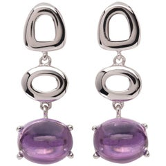 MAVIADA's St Tropez Purple Amethyst 18 Karat White Gold Drop Long Earrings