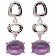 St Tropez Cabochon Purple Amethyst 18kt white Gold Drop long chic Earrings