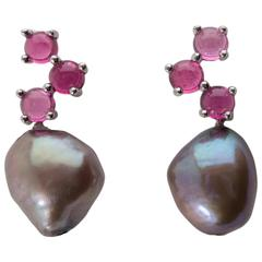 Cavallo Freshwater Baroque Pearl Pink Tourmaline Gold Earrings