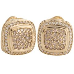 David Yurman Cognac Pave Diamond Yellow Gold Earrings