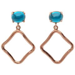 Contemporary Cabochon Blue Topaz 18kt yellow rose Gold Drop hoop long Earrings