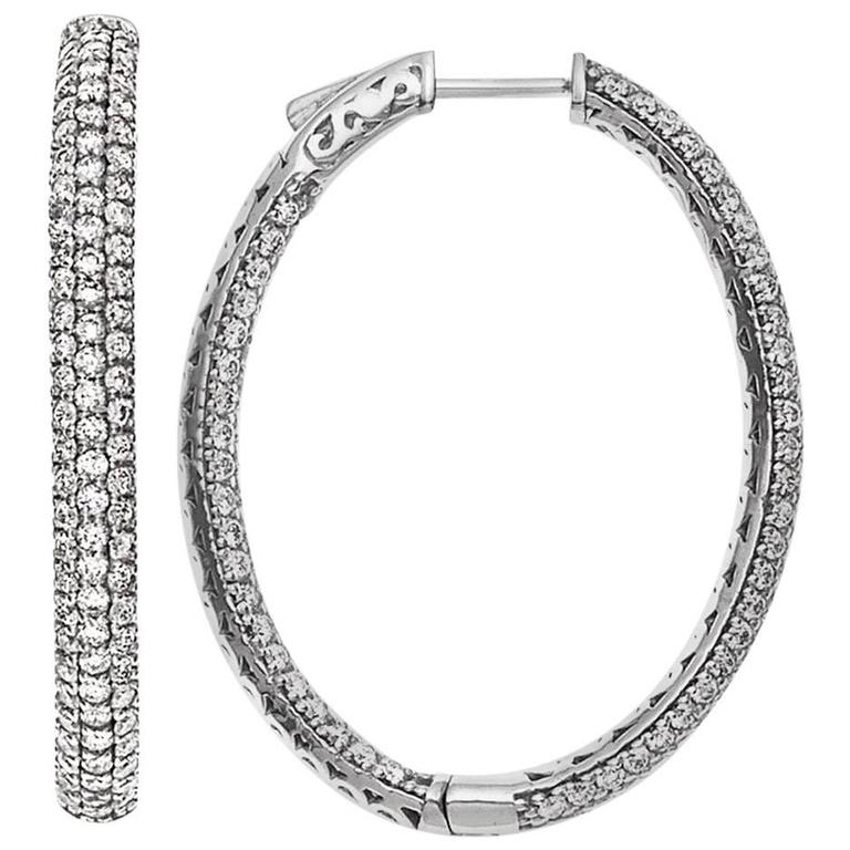 3 80 Carat Inside Out Micro Pave Diamond Hoop Earrings For