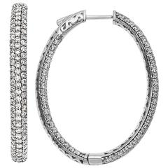 3.80 Carat Inside Out Micro Pave Diamond Hoop Earrings