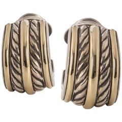 David Yurman Sterling Silver Yellow Gold Double Cable Huggie Earrings