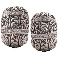 John Hardy Diamond Sterling Silver Woven Earrings