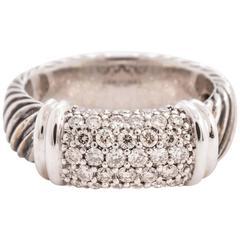 David Yurman Diamond Pave Sterling Silver White Gold Metro Cable Ring